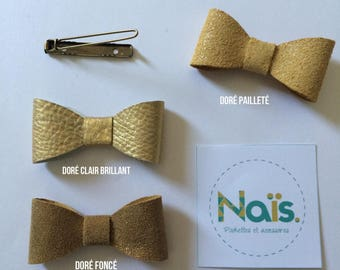 Gold Leather bow hair clip