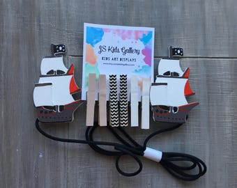 Kids art display, pirate ship child's art display hanger, kids art display, art work display, photo display, kids wall art, clothespin