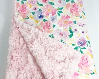 Baby Blanket - Minky Baby Blanket - Floral Minky - Watercolor Floral Blanket - Baby Girl Blanket - Floral Baby Blanket - Girl Nursery