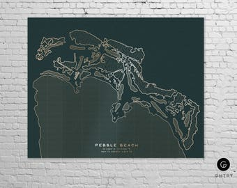 "Pebble Beach Course Print - 8""x10"" Gold Foil Golf Print 