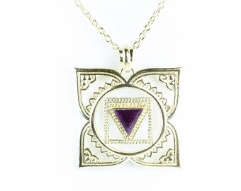 1st chakra necklace Muladhara Ruby 18 k gold plated