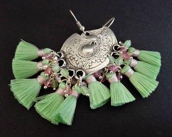 Ethnic Earrings | Chandelier Earrings | Pendientes | Gipsy Earrings | Tassel Earrings | Antique Silver Plated Earrings | Boho Earrings