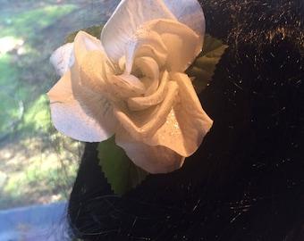 White rose hair flower