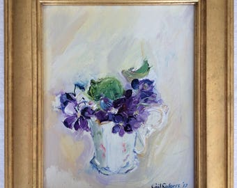 Golden Heart Cup of Violets, original oil painting