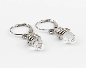 Short earrings drop swarovski, stainless steel