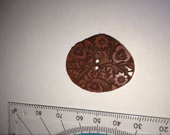 Set of 6 Burgundy Brown buttons 3 cm diameter flower pattern