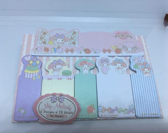 Kawaii Cute My Melody sticky tabs with sticky memo pad Stationary Storage Organizer Bag School Office Supply Planner