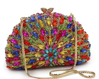 Evening clutch, Evening bag, Evening purse, clutch, Box metal clutch, Gold clutch, Green clutch, Crystal clutch, Clutches, Wedding clutch