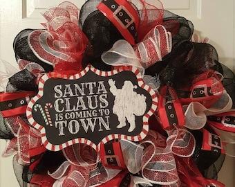 Christmas Wreath, Deco Mesh Wreath, Santa Wreath, Front Door Wreath, Christmas Decor, Holiday Wreath, Santa Claus Decor