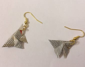 Origami butterflies in washi paper earrings