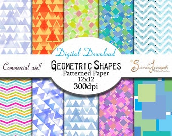 Geometric shapes patterned paper. 10 JPG designs each 12x12 inches, 300dpi. Commercial use and personal use OK