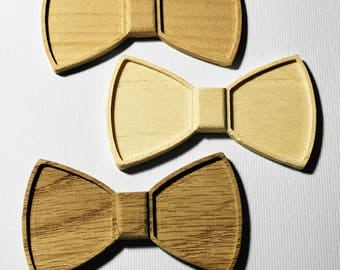 Unfinished wood bow ties, 3D wood art supply, oak, cherry and maple wood