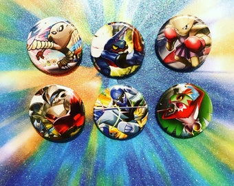 Choose Your Buttons - Set Of Six Fighting Type Pokemon Buttons!