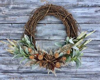 Fall Wreath, Fall Decor, Front Door Wreath, Farmhouse Wreath, Farmhouse Decor, Halloween Wreath, Thanksgiving Wreath, Wreath, Home Decor