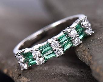 Emerald Wedding Band Stacking Ring Vintage Set CZ Half Eternity Anniversary