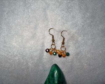 Gold Plated Cluster Gold Yellow Brown Earring
