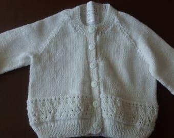 White baby cardigan, handknitted, baby QK