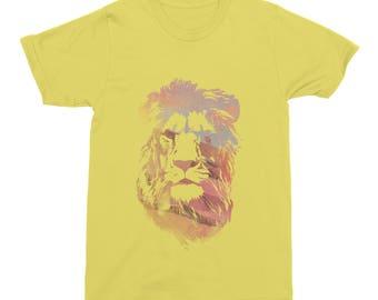 Lion TShirt, Big Cat T-Shirt, Desert Lion Mens T-Shirt, Womens Cotton Top, Girls Lion Tee, Robert Farkas Yellow T-Shirt