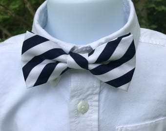 Dark Navy & White Striped Boys Bow Tie, Adjustable Navy and White Striped Bow Tie, Little Boys Striped Tie, Toddlers Navy/White Striped Tie
