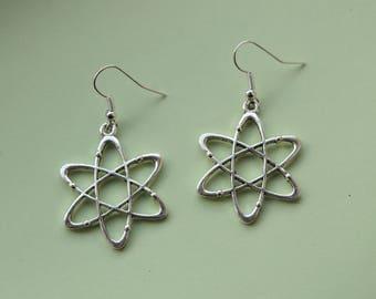 Up And Atom! Geeky Atom Earrings || Silver toned science nerd chemistry jewellery