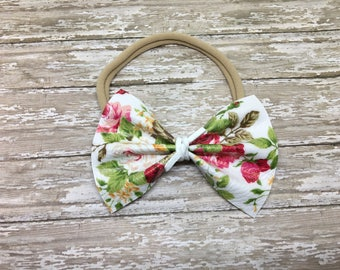 Cream floral leather bow,  floral leather bow, cream leather bow, floral bow, nylon headband, infant Headband, handmade, newborn, baby headb