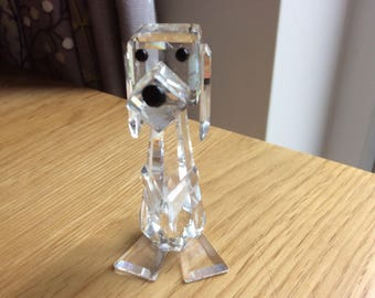 Signed Swarovski Crystal Dog, Retired Pluto No. 7635. Made in Austria 1979 -1990 with original box.