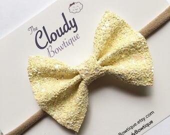Iridescent Yellow  Chunky Glitter Bow /  Glitter Hair Bow / You are my Sunshine Hair Bow / Summer Hair Bow / Girl's Hair Bow / Baby Headband