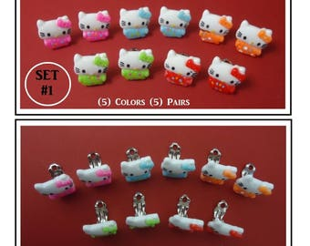 Kitty Cat Clip On Earrings (5) Prs Clip On Play Dress Up Girl Earrings Fun Earrings Party Dress Up Earrings Kids Gifts Party Favors