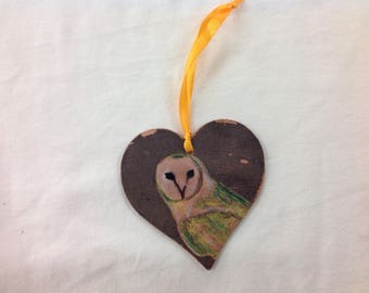 Hamd painted and printed barn owl decoration