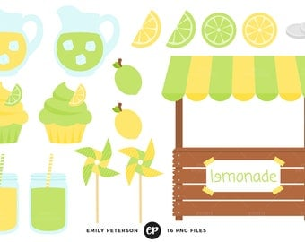 50% OFF SALE! Lemonade Clip Art, Stand Clipart, Fruit Clip Art - Commercial Use, Instant Download - V2