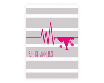 Illustration of Rio de Janeiro (beige and pink)