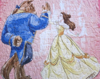 Gift for girl, Beauty and the Beast Quilt, Belle Quilt, Beauty and the Beast Blanket, Lap Quilt, Wall Hanging, baby quilt, toddler quilt