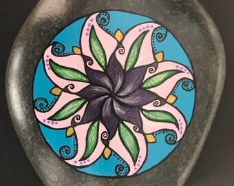 Mandala Large Beach Pebble Rock Art