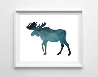 Moose print, geometric moose, geometric animals print, deer, moose printable, kids room decor, nursery print, digital file