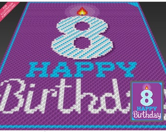 Happy Birthday 8 crochet blanket pattern; knitting, cross stitch graph; pdf download; no written counts or row-by-row instructions