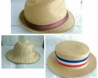 A Selection of Vintage Straw Hats Borsalino, Boater- 3 Styles  (173)
