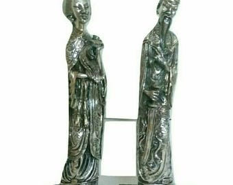 Collectible Silver Statue of Emperor and Empress Modern Chinoiserie (2983)