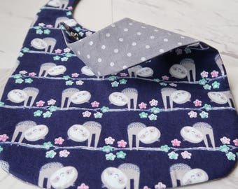 Baby Bib/ Sloth and Grey Dotted/ Reversible/ Waterproof