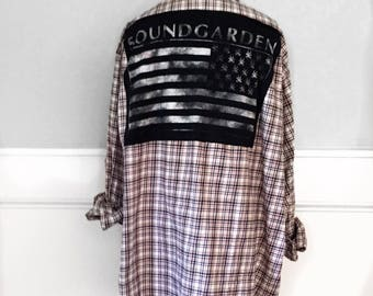 Soundgarden Flag Flannel Tee Soundgarden Tee Shirt Upcycled clothing Vintage flannel 2xl