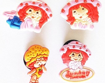 Set 4 Shoe charms pins clip type Jibbitz Charlotte Strawberry fangs or any other garment decoration shoe bag