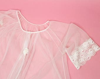 Vintage White Lace Sheer Babydoll Peignoir Lingerie Nightgown Nighty Robe Negligee S / M / L