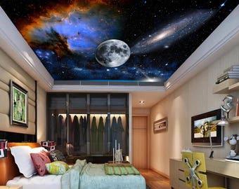 galaxy ceiling wallpaper, ceiling stars, nebula ceiling wall mural, ceiling , STAR wall DECAL, space star ceiling, moon ceiling, stars