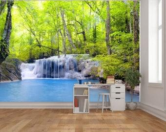Waterfall wallpaper, river waterfall wall decal, waterfall river, waterfall wall mural, river mural, self-adhesive vinly, waterfall river,
