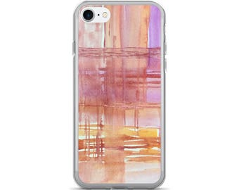 Pink abstract phone case, iPhone 7/7 Plus Cover, artsy phone case, watercolor case, unique case, pretty phone case, painted case