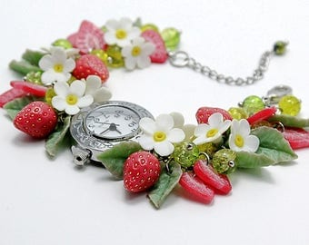 Watch(bracelet) with polymer clay strawberries, flowers and leaves