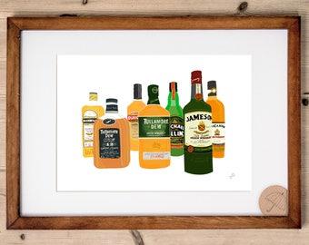 Irish Whiskey Art Print | Whiskey Gift | Bar Art | Whiskey Bar Print | Tullamore Whiskey | Jamesons Whiskey | Bushmills | Ireland Print |
