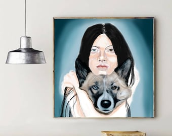 Woman and Wolf Print, Digital Print, Digital Art, Wall Art Print, Printable Art, Modern Art, Home Decor, Wolf Print, Art Portrait, Download