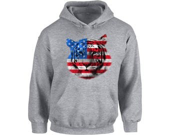 USA Flag Tiger Hoodie  Hooded Sweatshirt Independence Day Gift 4th of July Tiger Patriotic