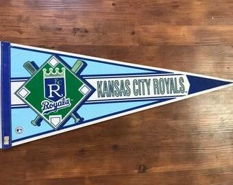 Vintage Kansas City Royals Pennant 1990's MLB Memorabilia