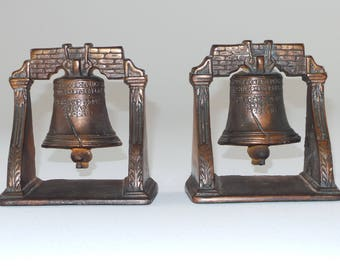 Cast Iron Liberty Bell Bookends | Bronze Colored Vintage Bookend from the 20s